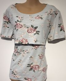 CHICO JACKS PALE BLUE FLORAL JERSEY TOP SIZE UK 16